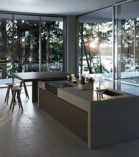 luxurious apartment, panorama and kitchen