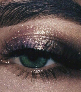 mascara, vintage and glitter