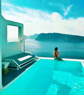 travel, pool and blue