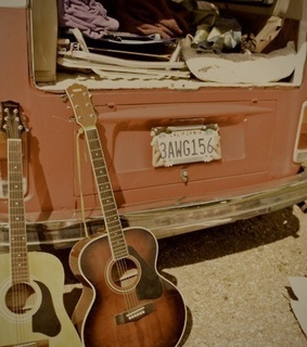 musicians, hippie and old guitars