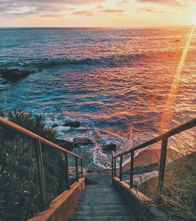 sunset, great and ocean