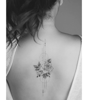 black and grey, tattoo and flower