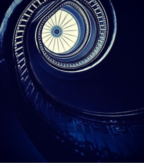 stairs, white and blue
