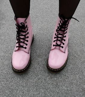 dr martens, boots and pink