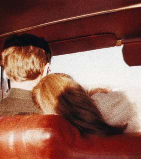 couple, red and car