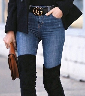 jeans, gucci belt and purse