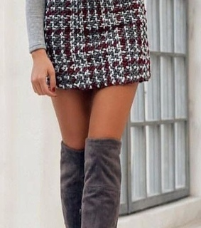 thigh high boots, chic and skirt