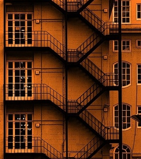 apartment, orange and staircase