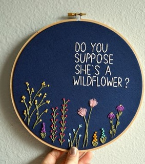 blue and white, embroidery and wildflower