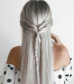 braids, grey and girl