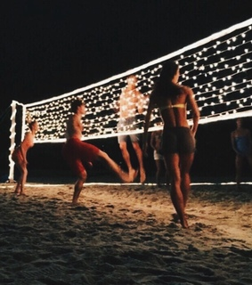 friends, beach and volleyball