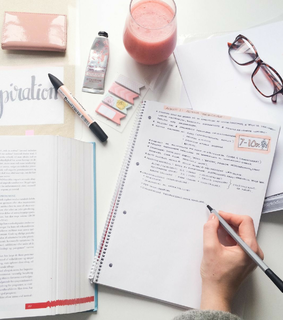 notes, college and pink