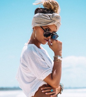 style, hair scarf and beach outfit