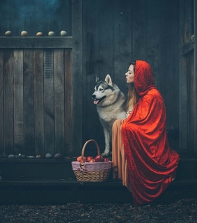 red riding hood, girl and wolf