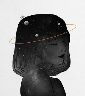 girl, planets and Dream