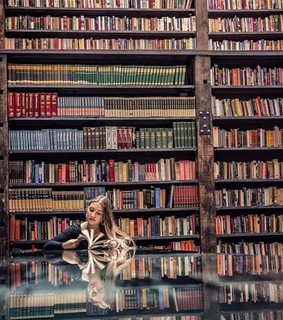 girl, reading and library