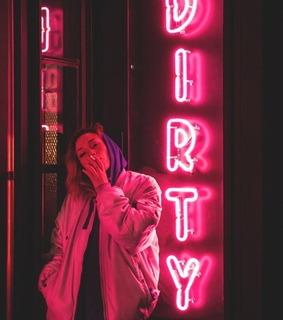 pink, neon lights and color