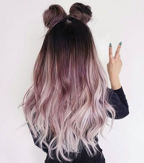 purple, long hair and ombre