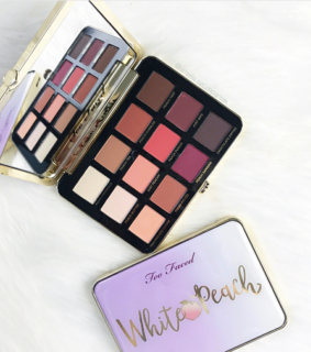 too faced, eyeshadow and white peach