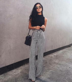 shirley pants, stripe and white