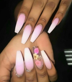 coffin nails, flowers and cute