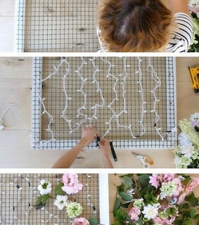 wall, diy and flowers