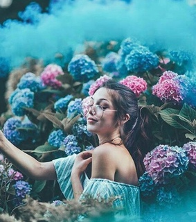 girl, nature and flowers