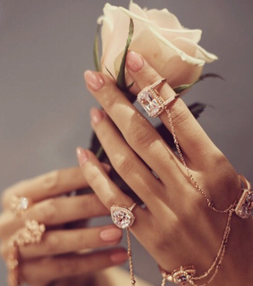 rings, manicure and flowers