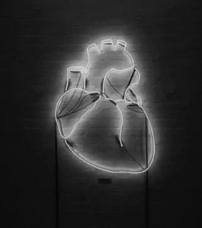 neon, black and heart