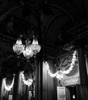 art, bw and chandelier
