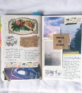 Collage, bullet journal and art journal