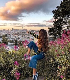 flowers, girl and cities