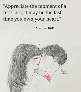 heart, first kiss and quote