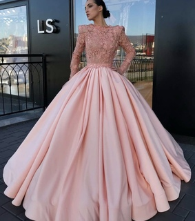 Nude, gown and pink