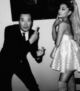 ariana black and white, jimmy fallon and icon
