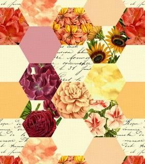geometric, red and flowers