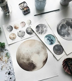 planets, watercolor and drawing
