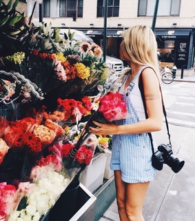 spring, flower shop and girl