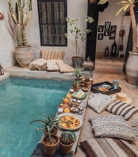 decorating, pool and relaxing