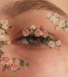 flowers, makeup and pink