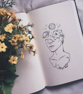 art, book and flowers