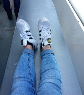 cute, white sneakers and denim