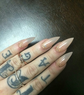 hand tattoos, nails and glitter