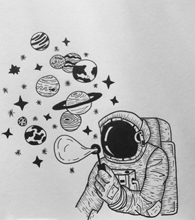 astronaut, black and white and stars