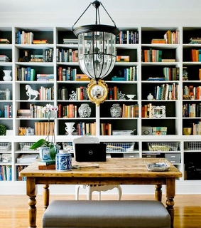 workspace, bookcases and bookshelves