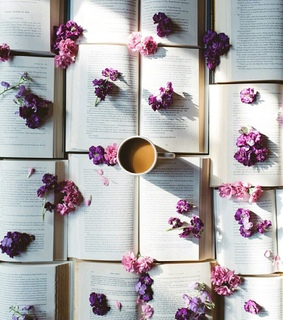 books, flowers and coffee
