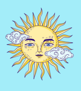 sun, blue and background