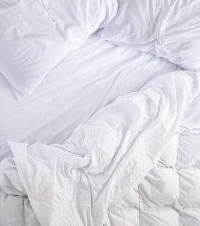 white, bed and blanket