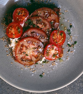 heirloom tomato, breakfast and goat cheese