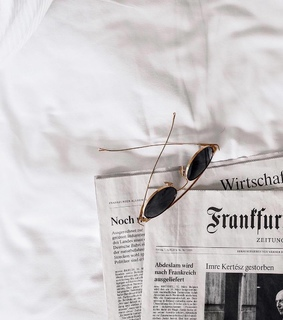 simplicity, newspaper and sunglasses